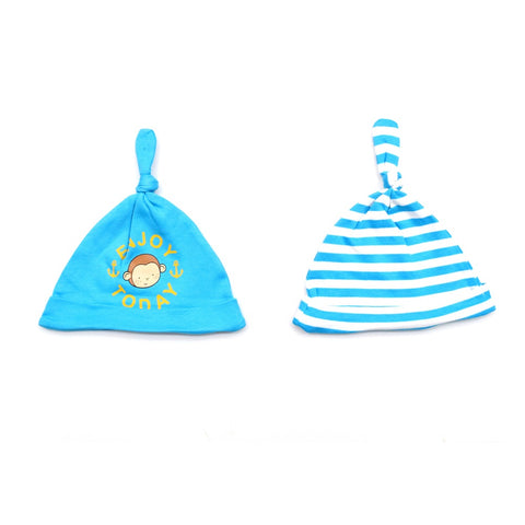 Jus Cubs Cotton Printed Solid &  Striped Baby Caps Pack of 2