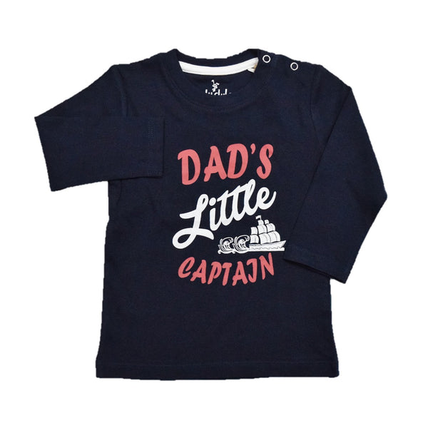 Cuby Clubz Dad's Little Captain Print Full Sleeve T-Shirt