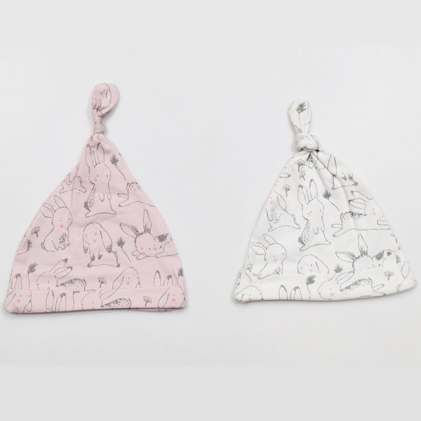 JusCubs Cotton Rabbit Print AOP Baby Caps Pack Of 2