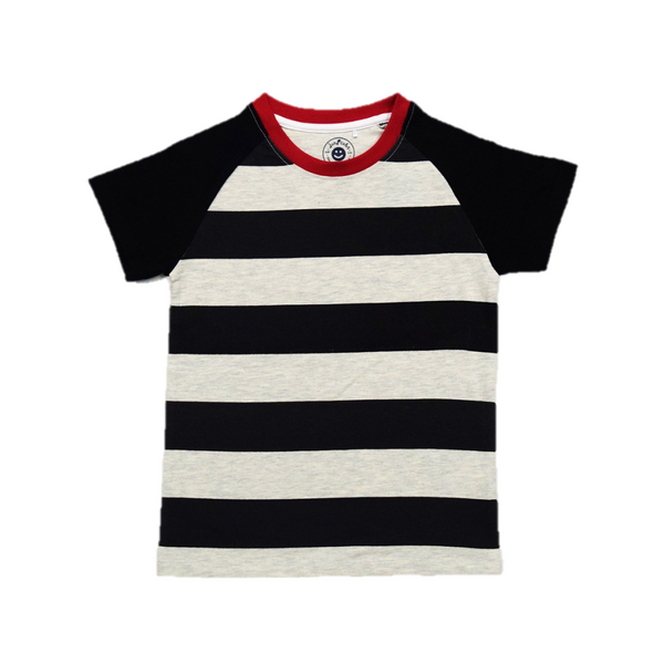 JusCubs Boys Blue Raglon Sleeve Stripes T-Shirt