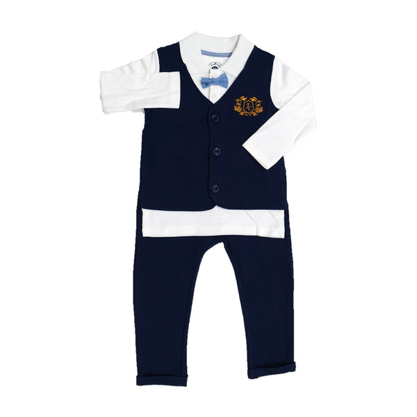Jus Cubs Solid Full Sleeves Tee With Attached Waistcoat & Bow Tie With Pants-White