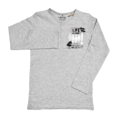 Cuby Clubz DLife Is Good Print Full Sleeve T-Shirt