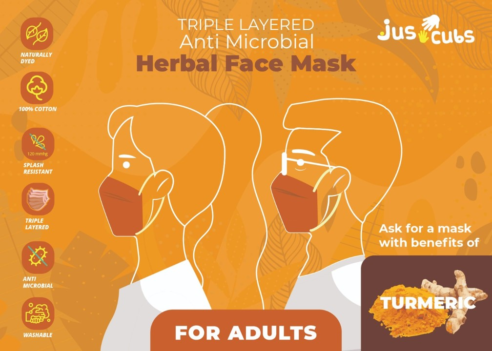 JusCubs Herbal Triple Layered Adult Turmeric Mask Pack of 5