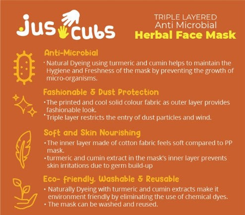JusCubs Herbal Triple Layered Kids Turmeric Mask Pack of 10