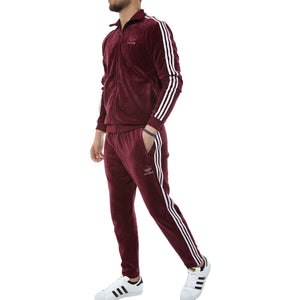 Adidas Originals - VELOUR BB TRACKSUIT - MAROON/WHITE - Moesports