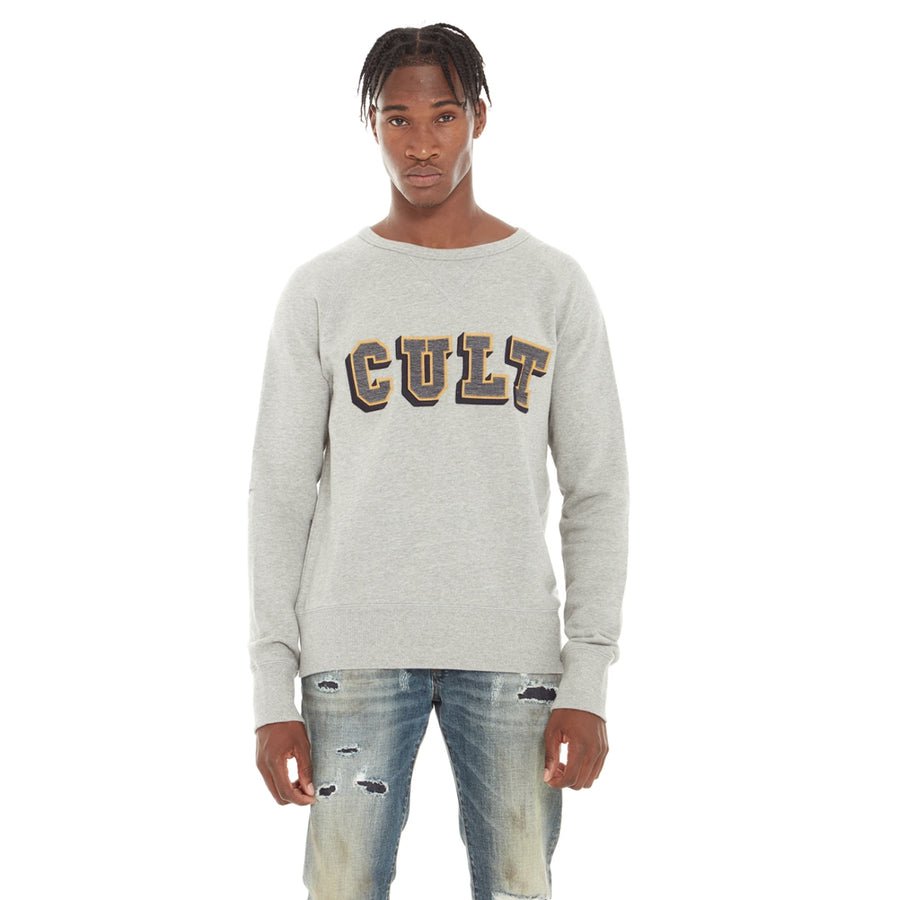Cult of Individuality CREW NECK FLEECE W/COLLEGIATE FONT Men's - HEATHER GREY