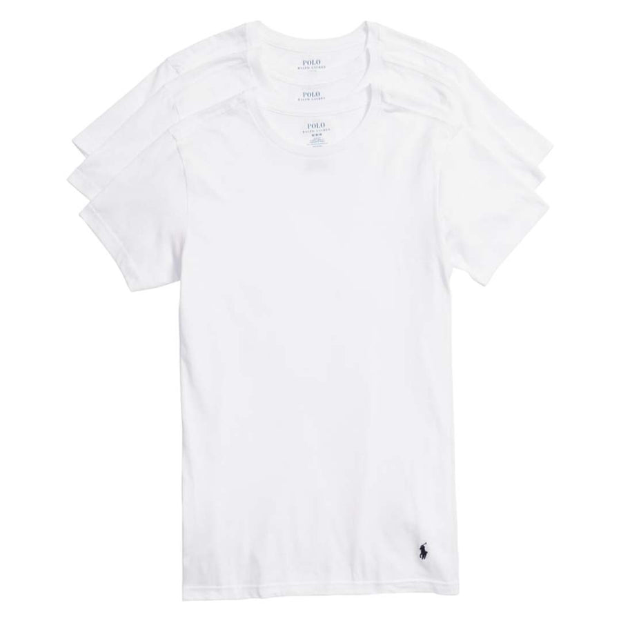 Polo Ralph Lauren CREW NECK SLIM FIT T-Shirt 3 PACK Men's - WHITE - Moesports