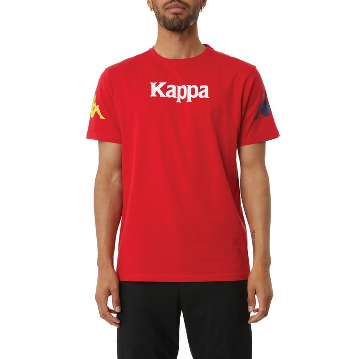 Kappa AUTHENTIC PAROO MAN TEE Men's -RED - YELLOW DK - BLUE  DK - WHITE