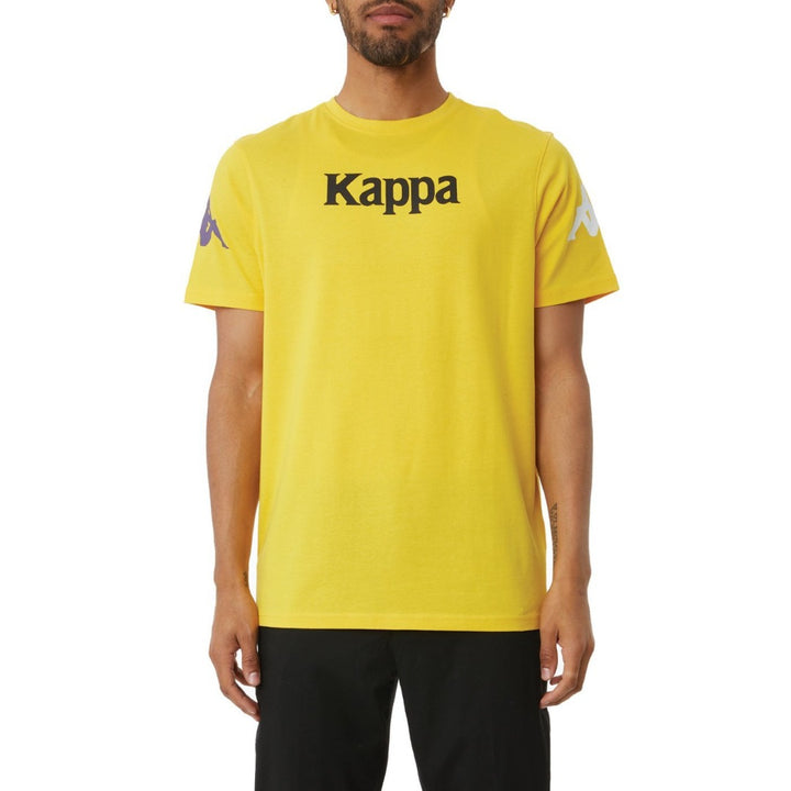 Kappa AUTHENTIC PAROO MAN TEE Men's -YELLOW DK - VIOLET- WHITE- BLACK