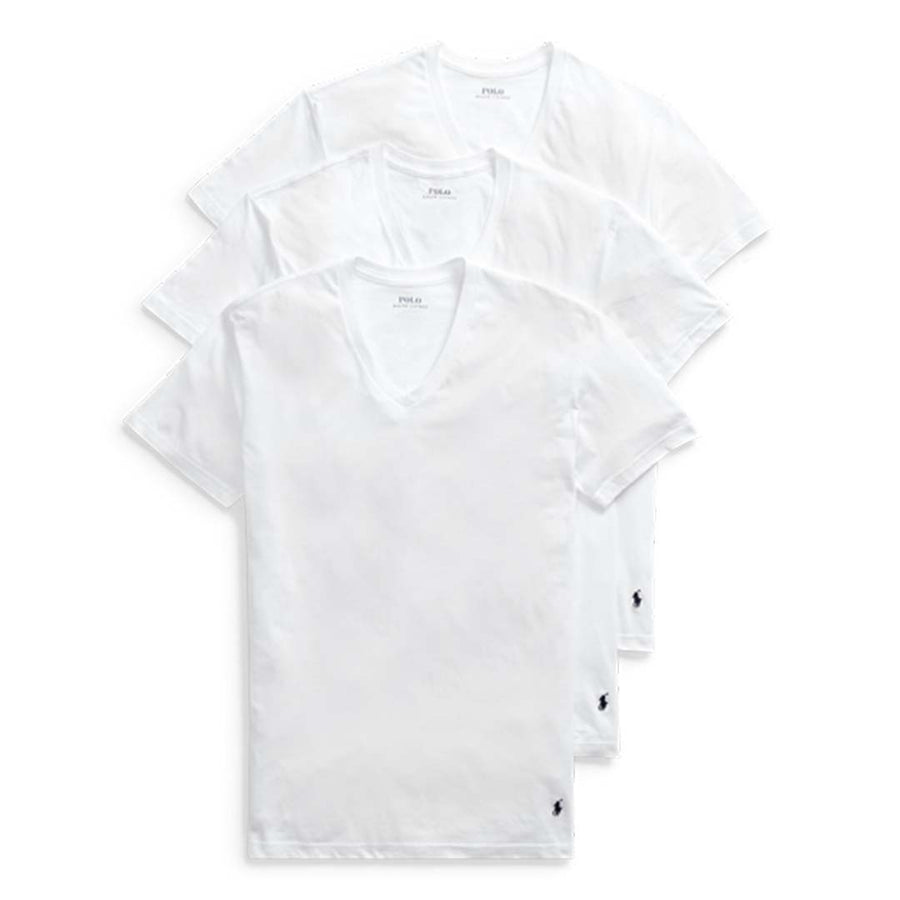 Polo Ralph Lauren - V-NECK CLASSIC FIT T-Shirt 3 PACK Men's - WHITE - Moesports