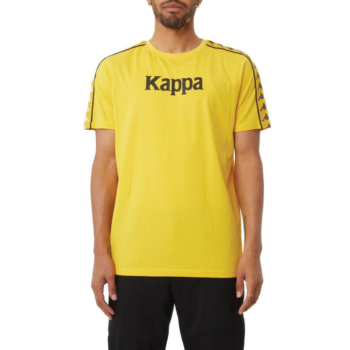 Kappa AUTHENTIC BENDOC MAN TEE Men's -YELLOW DK - VIOLET- WHITE - BLACK