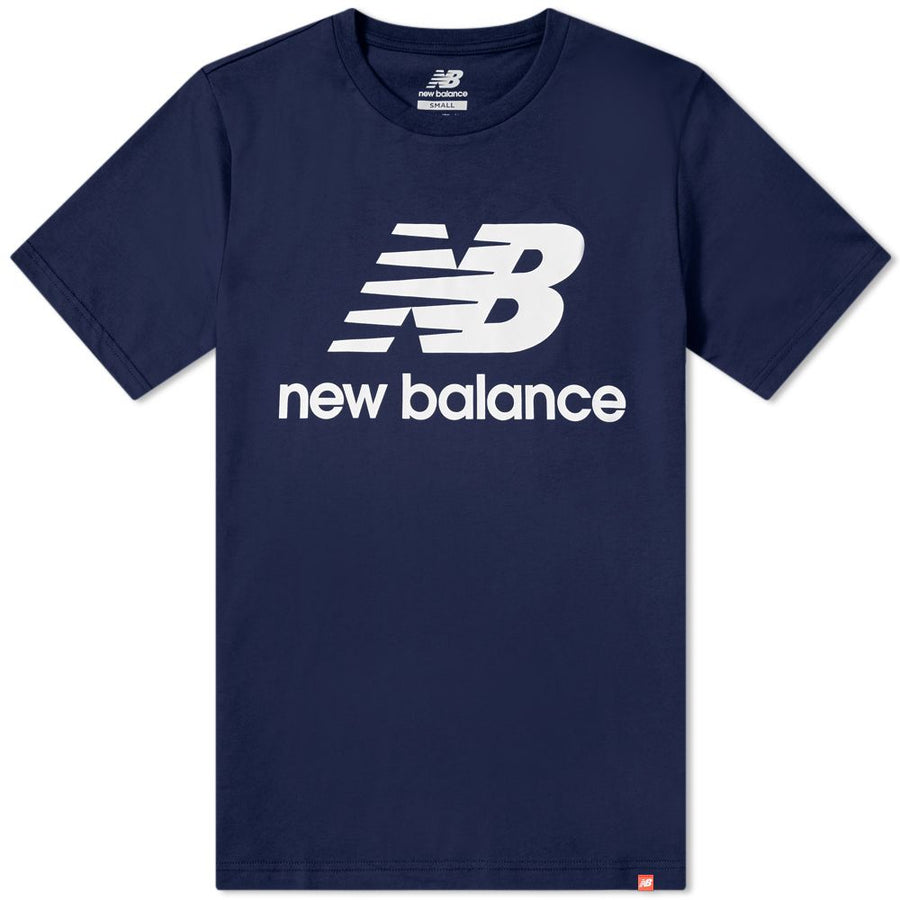 New Balance ATHLETIC ESSE ST LOGO TEE Men's - PGM NAVY/WHITE - Moesports