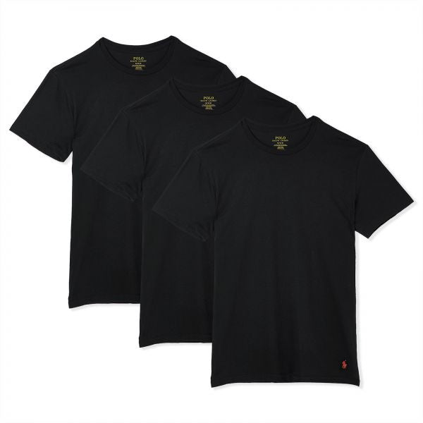 Polo Ralph Lauren CREWNECK CLASSIC FIT T-Shirt 3 PACK Men's - BLACK - Moesports