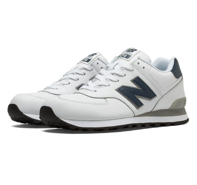 New Balance Classics 574 Men's - WHITE/NAVY/GRAY - Moesports