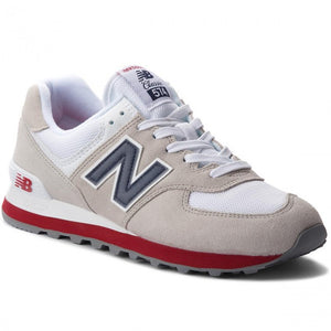 New Balance 574 Classics Men's - LITE GRAY/NAVY/WHITE/RED - Moesports