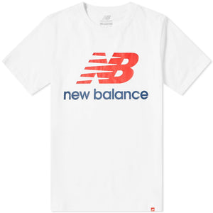 New Balance ATHLETIC ESSE ST LOGO TEE Men's - WHT/RED/NVY - Moesports