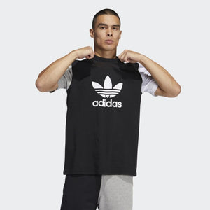 Adidas Original 3-TREFOIL T-SHIRT TEE Men's - BLACK /MEDIUM GREY