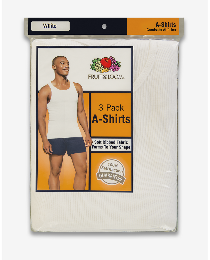 Fruit Of The Loom FOTL 3PK TANK TOP Men's - WHITE ICE - Moesports