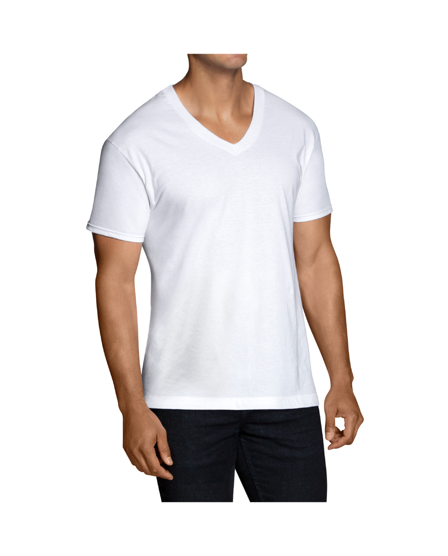 Fruit Of The Loom FOTL 3PK V-NECK Men's - WHITE ICE - Moesports