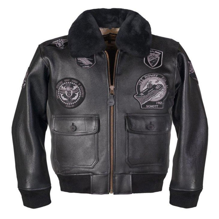 Schott Bros. USS MIDWAY LEATHER JACKET Men's - BLACK