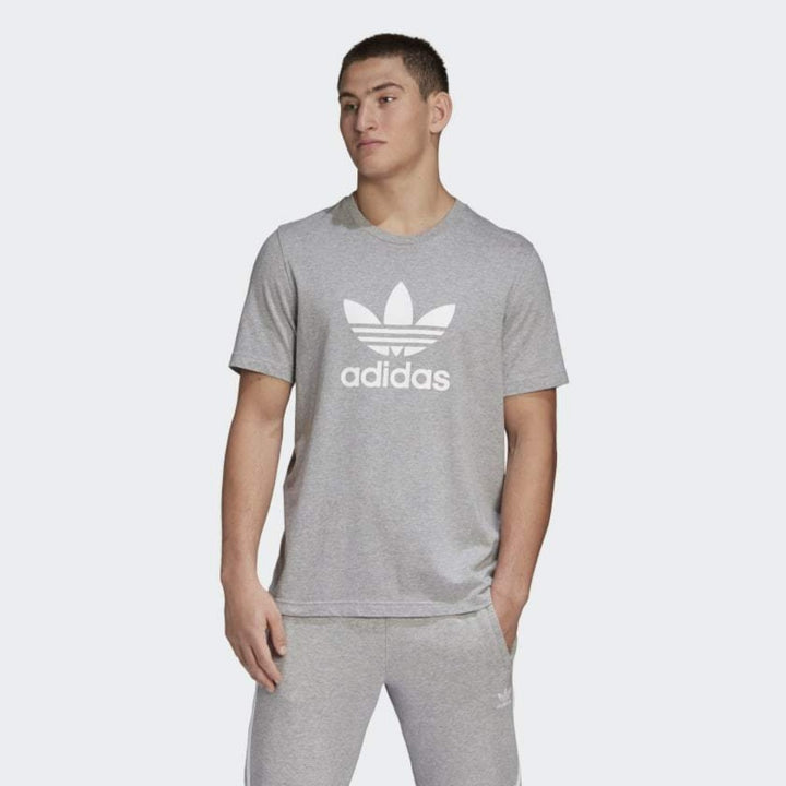 Adidas Original 3-TREFOIL T-SHIRT TEE Men's - MEDIUM GREY HEATHER