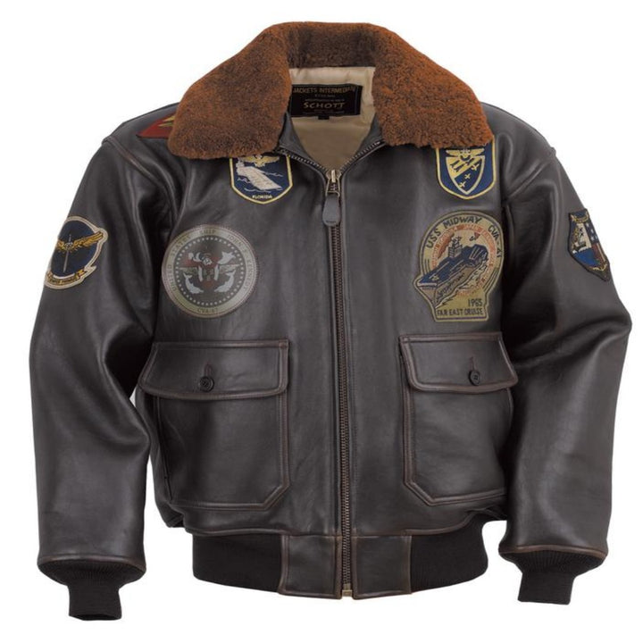 Schott Bros. USS MIDWAY LEATHER JACKET Men's - BROWN