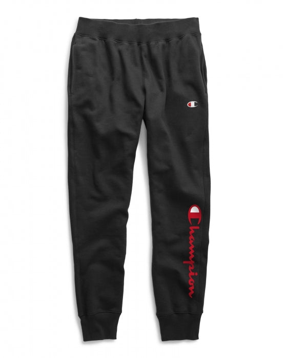 Champion Men's Reverse Weave Flock Script Jogger Pants: Black/Red - Moesports
