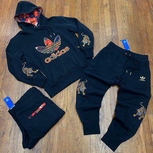 Adidas Original  X FORBIDDEN CITY CNY HOODY SWEATSUIT Men's - BLACK/GOLD/RED - Moesports