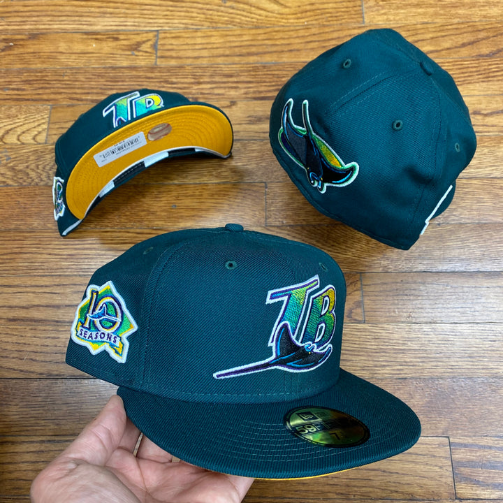New Era 5950 FITTED TAMPA BAY RAYS DK GREEN 10 SEASONS SIDEPATCH-YELLOW BOTTOM