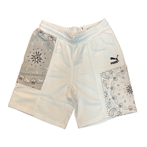 PUMA OB PATCHWORK SHORTS- Men's- PUMA WHITE