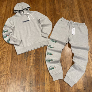 LACOSTE HOODED GATOR PRINT SWEATSUIT-GREY