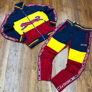 Le Tigre TRI COLOR TRACKSUIT Men's - YELLOW/NAVY/RED - Moesports