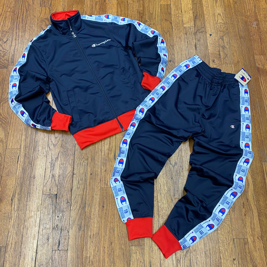 Champion Tape TRACKSUIT   Men's - NAVY/SCARLET - Moesports
