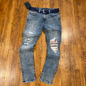 Cult of Individuality PUNK SUPER SKINNY STRETCH BELTED JEAN Men's - GRIT
