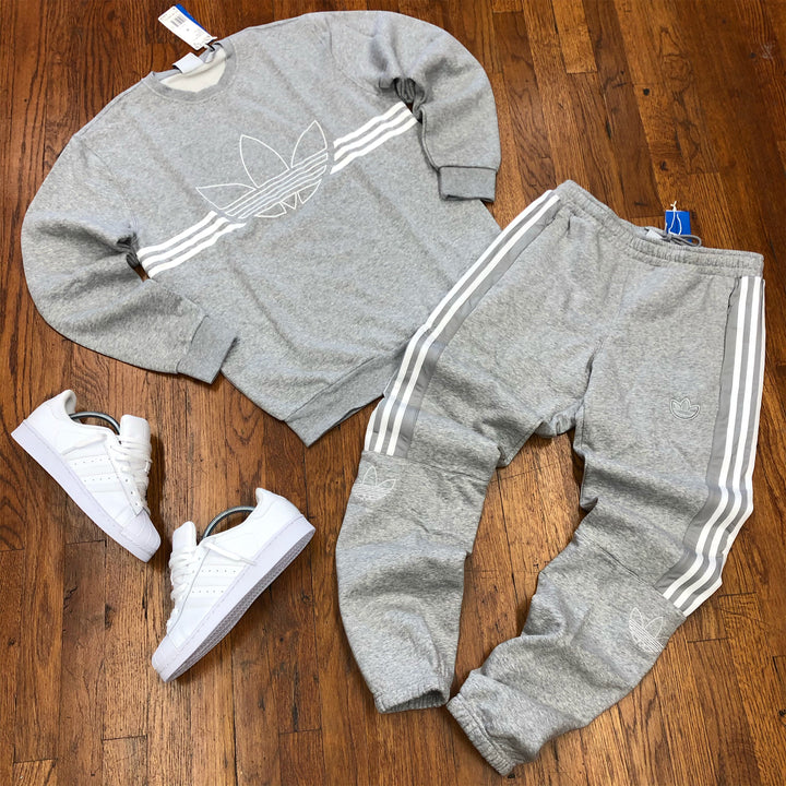 Adidas Original OUTLINE CREWNECK SWEATSUIT - Men's - GREY/WHITE