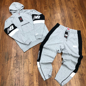 New Balance COLOR BLOCK HOODIE SUIT Men's - GREY/WHITE - Moesports
