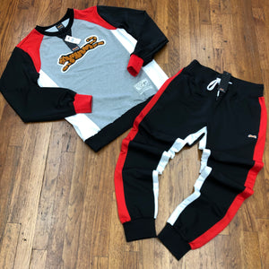 Le Tigre  RETRO SWEATSUIT Men's - BLK/WHITE/RED - Moesports