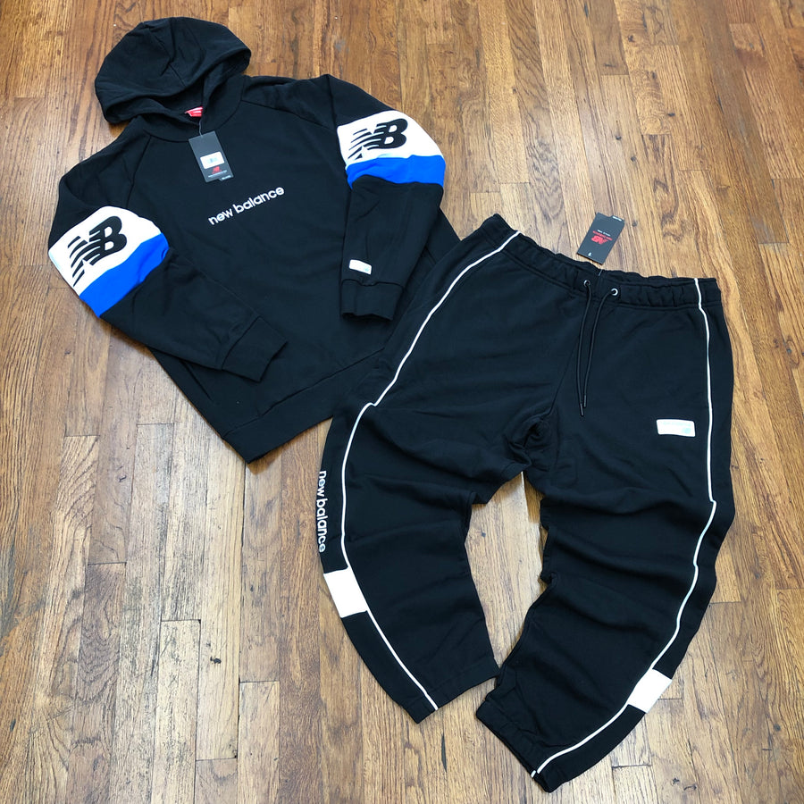 New Balance  COLOR BLOCK HOODIE SUIT Men's - BLACK/WHITE - Moesports