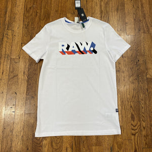 G-Star RAW. TEXT SLIM R T SS GRAPHIC TEE Men's - WHITE