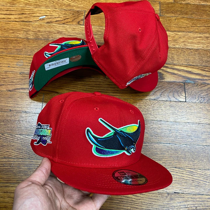 NEW ERA 950 SNAPBACK TAMPA BAY RAYS RED/GREEN INAUGURAL 1998 SIDE PATCH-GREEN BOTTOM