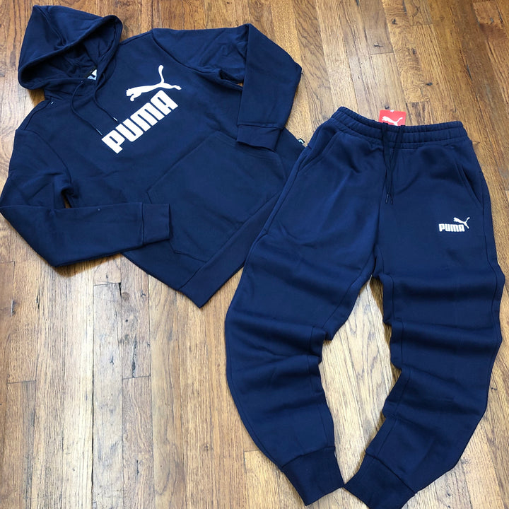 Puma ESSENTIAL FL BIG LOGO HOODY SWEATSUIT Men's - PEACOAT/NAVY - Moesports