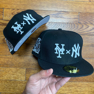 New Era Cap 5950 NEYYANCO SUBWAY SIDEPATCH FITTED CAP Men's - BLACK/WHITE - Moesports