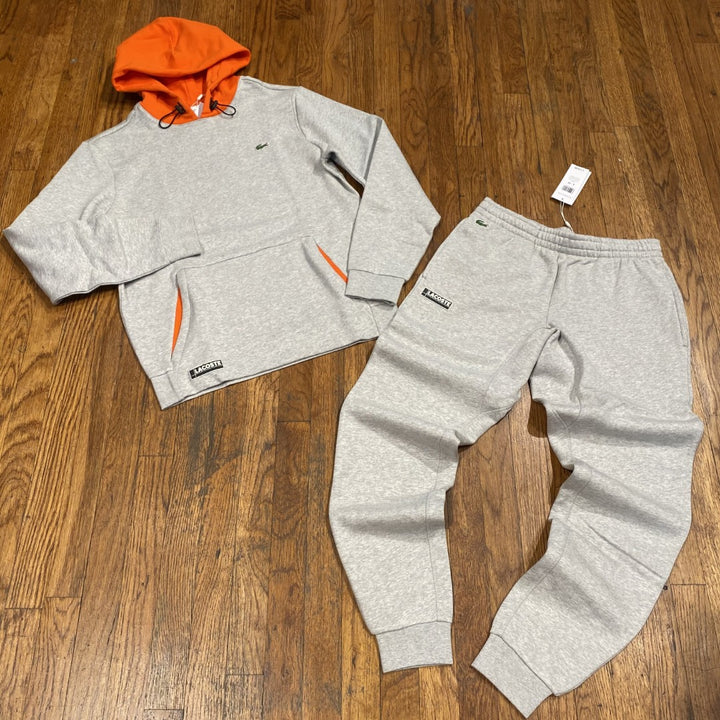 LACOSTE HOODED COLORBLOCK SWEATSUIT-GREY ORANGE