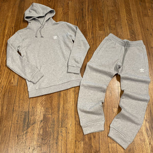 Adidas Originals Men's TREFOIL CLASSIC HOODY SWEATSUIT-GREY/WHITE