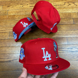 NEW ERA 950 SNAPBACK LA DODGERS PALM TREE RED/ICY 1958-2008 SIDEPATCH-ICY BLUE BOTTOM