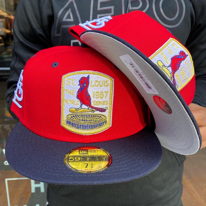 New Era 5950 STLCARD 1967 WS GREY BOTTOM FITTED Men's - RED/NAVY/GOLD