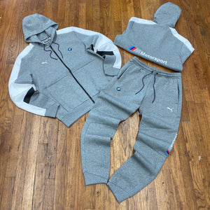 Puma BMW MMS HOODED SWEATSUIT Men's - MEDIUM GRAY HEATHER - Moesports