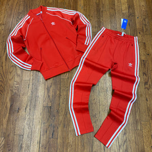 Adidas Originals - Superstar TRACKSUIT Women's - LUSH RED/WHITE - Moesports