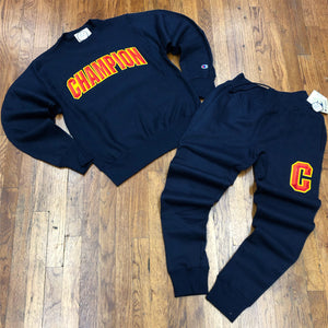 Champion FLC PULLOVER SWEATSUIT Men's - NAVY - Moesports