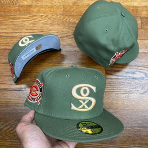 NEW ERA 5950 FITTED CHICAGO WHITE SOX OLIVE CIN 1919 WS SIDE PATCH-GREY BOTTOM